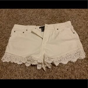 Forever 21 White Denim Shorts